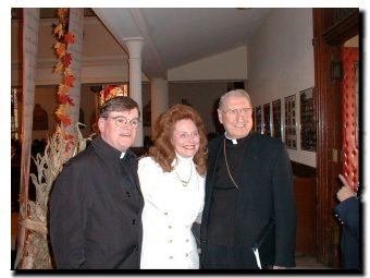 Picture of Cardinal O'Connor with St. Cecilia's Church Pastor, Fr. James Brennan and with sculptor Eileen Barry