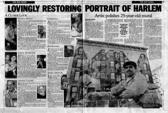 Black and White reduced reproduction of the two New York Daily News articles about Manny Vega and those portrayed on the wall mural.