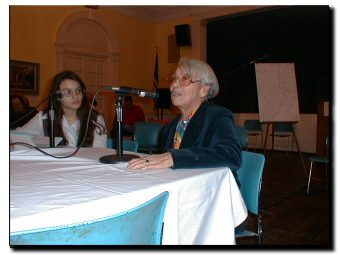 Picture of teenager Lady Ann Ceballo asking Petra Allende about living in East Harlem in the 1950s