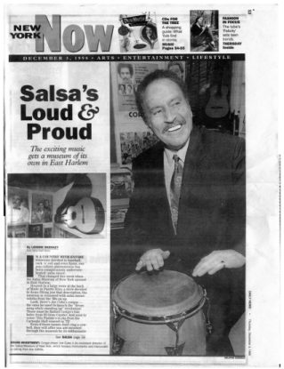 Picture of reduced reproduction of the New York Daily News article of Dec 3, 1998 on the Salsa Museum in East Harlem